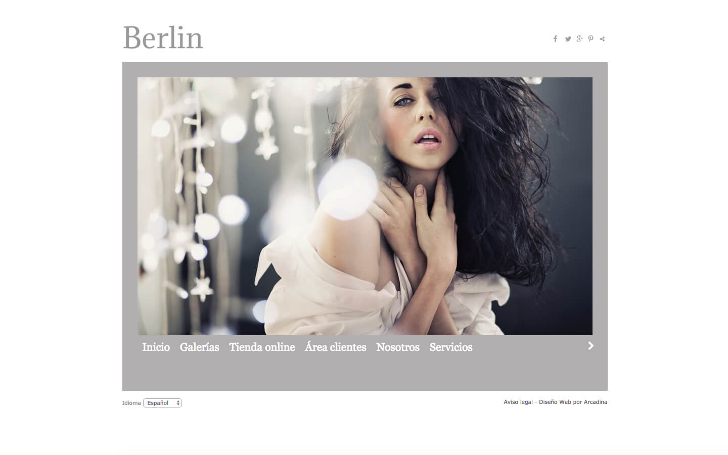 Photographers website. Design: Berlin